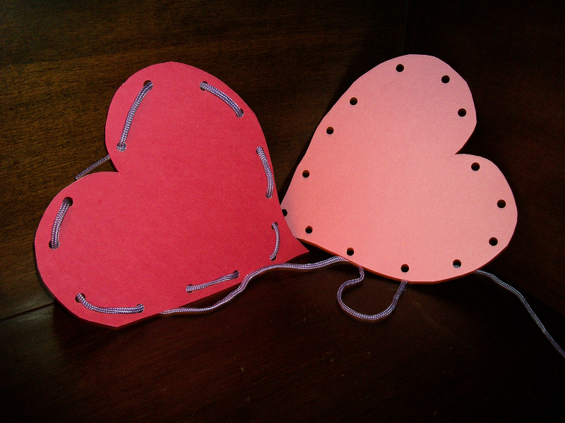 Lacing Valentine's Cards